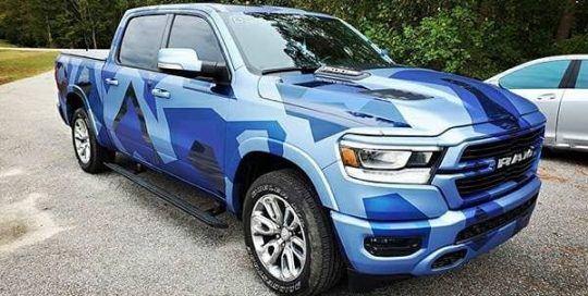 Dodge Ram wrapped in Avery SW Matte Brilliant Blue, Matte Powder Blue Metallic, and Gloss Dark Blue Metallic vinyls