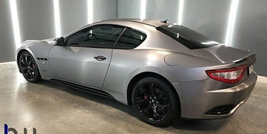 Maserati Granturismo wrapped in Avery SW Brushed Steel Metallic vinyl
