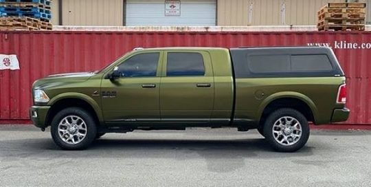 Dodge Ram wrapped in Avery SW Satin Hope Green vinyl