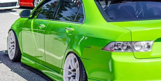 Acura TSX wrapped in @orafol_americas Gloss Lawn Green vinyl