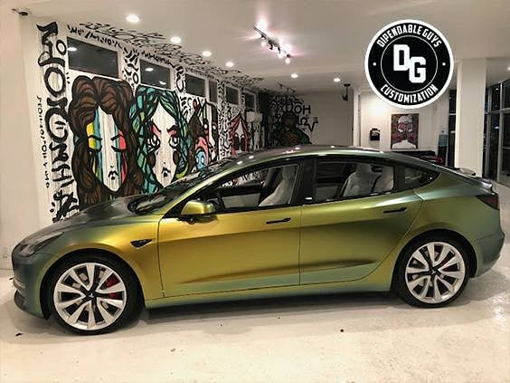 Tesla Model 3 wrapped in Avery ColorFlow Satin Fresh Spring shade shifting vinyl
