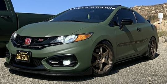 Honda CIvic wrapped in Avery SW Matte Olive Green vinyl