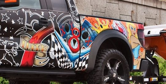 Ford Raptor wrapped in custom printed 180Cv3