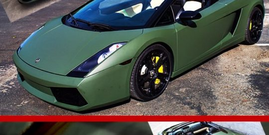 Lamborghini Gallardo wrapped in Matte Military Green vinyl