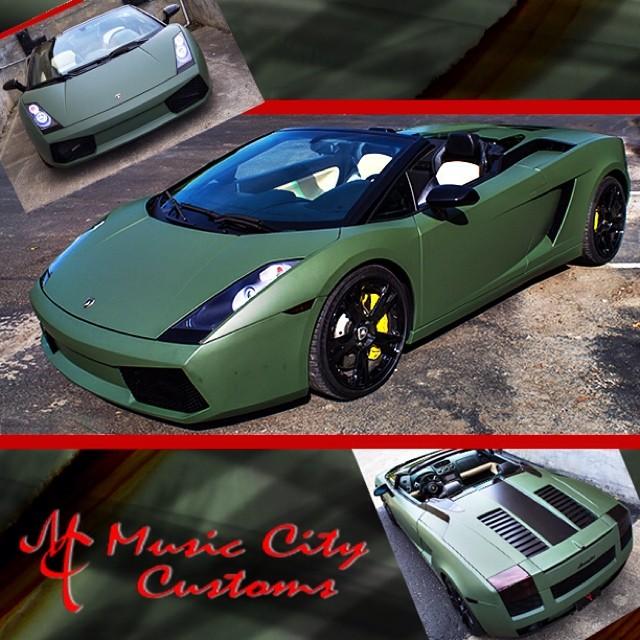 Lamborghini Gallardo wrapped in Matte Military Green vinyl