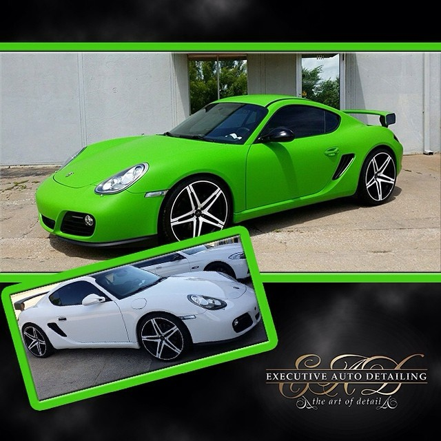Porsche Cayman wrapped in 1080 Matte Apple Green