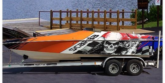 Boat wrapped in custom print IJ180Cv3 vinyl
