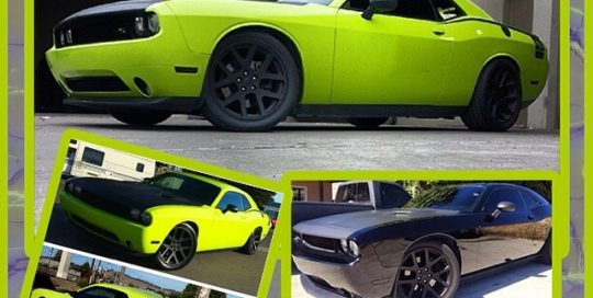 Dodge Challenger wrapped in Avery SW Lime Green vinyl